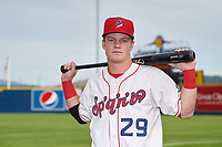 Spokane Indians outfielder Kellen Strahm (29) poses for a photo before a Northwest League game against the Hillsboro Hops at Avista Stadium on August 23, 2019 in Spokane, Washington. Hillsboro defeated Spokane 8-2. (Zachary Lucy/Four Seam Images)
