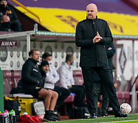 9th January 2021; Turf Moor, Burnley, Lanchashire, England; English FA Cup Football, Burnley versus Milton Keynes Dons; Sean Dyche looks agitated on the sideline as his team lags behind