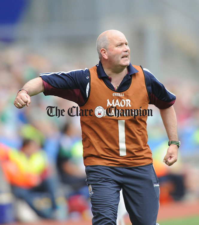 Galway selector John Cummins urges on the team late during the Minor All-Ireland semi final game against Limerick in Croke Park. Photograph by John Kelly.