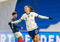 LE HAVRE, FRANCE - APRIL 13: Alex Morgan #13 of the USWNT celebrates her goal during a game between France and USWNT at Stade Oceane on April 13, 2021 in Le Havre, France.