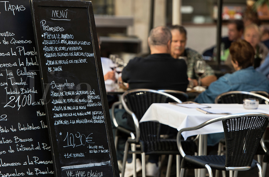 Tapas menu at an outdoor restaurant, Barcelona, Spain
