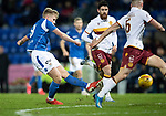 St Johnstone v Motherwell…..12.02.20   McDiarmid Park   SPFL<br />Ali McCann's shot is saved<br />Picture by Graeme Hart.<br />Copyright Perthshire Picture Agency<br />Tel: 01738 623350  Mobile: 07990 594431