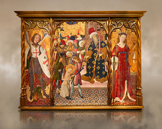 Gothic altarpiece depicting left to right - the Archangel Gabriel, the martyrdom of Santa Eulalia and St Caterina, by Bernat Martorell, circa 1442-1445, Temperal and gold leaf on wood.  National Museum of Catalan Art, Barcelona, Spain, inv no: MNAC  1442.