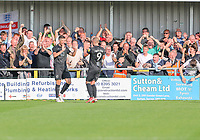 9th October 2021;  VBS Community Stadium, Sutton, London; EFL League 2 football, Sutton United versus Port Vale; Jamie Proctor (13) of Port Vale celebrates his goal for 0-2 in the 28th minute