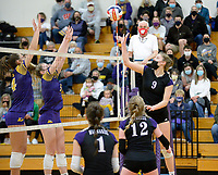 Waunakee's Kaitlin Jordan taps the ball over the net, as DeForest tops Waunakee 3 sets to 1 in Wisconsin WIAA girls high school volleyball regional finals on Saturday, Apr. 10, 2021 at DeForest High School