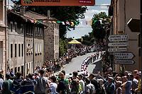 Peloton rolling through town<br /> <br /> Stage 9: Saint-Étienne to Brioude (170km)<br /> 106th Tour de France 2019 (2.UWT)<br /> <br /> ©kramon