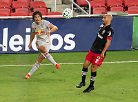 WASHINGTON, DC - SEPTEMBER 12: Florian Valot #22 of the New York Red Bulls crosses the ball during a game between New York Red Bulls and D.C. United at Audi Field on September 12, 2020 in Washington, DC.