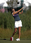 Brandi Chastain hits a tee shot during practice rounds at the American Century Championship golf tournament at Edgewood Tahoe at Stateline, Nev., on Wednesday, July 18, 2012..Photo by Cathleen Allison