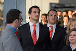 The Welsh rugby team celebrate winning the Grand Slam in the Six Nations rugby tournament at The Senydd in Cardiff Bay..Wales  Captain Sam Warburton and Gethin Jenkins waiting to meet the fans..