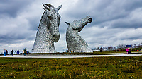 Pictured: The Kelpies at the Helix.<br /> Re: The Helix in Falkirk, Scotland, UK. 07 April 2018