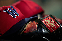 Worcester Red Sox hat and Rawlings glove during a game against the Rochester Red Wings on September 3, 2021 at Frontier Field in Rochester, New York.  (Mike Janes/Four Seam Images)