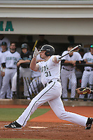Coastal Carolina University outfielder Bryce Dial #31 at bat during a game against the James Madison University Dukes at Watson Stadium at Vrooman Field on February 17, 2012 in Conway, SC.  Coastal Carolina defeated James Madison 7-1.  (Robert Gurganus/Four Seam Images)