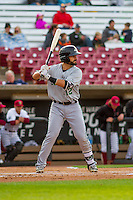 Clinton LumberKings catcher James Alfonso (12) at the plate during a Midwest League game against the Wisconsin Timber Rattlers on May 9th, 2016 at Fox Cities Stadium in Appleton, Wisconsin.  Clinton defeated Wisconsin 6-3. (Brad Krause/Four Seam Images)