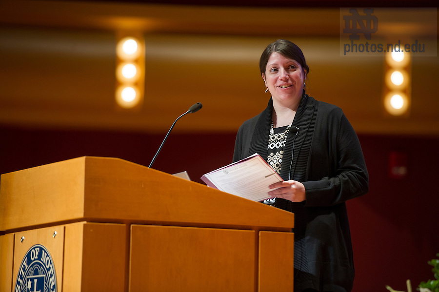 """Sept 15, 2014; Moderator Rebecca Wingert, Elizabeth and Michael Gallagher assistant professor of biological sciences, speaks during the 2014-15 Notre Dame Forum, """"What do Notre Dame Graduates Need to Know,"""" at Leighton Concert Hall in the Debartolo Performing Arts Center. (Photo by Barbara Johnston/University of Notre Dame)"""