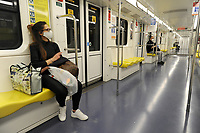 - epidemia di Coronavirus, traspori pubblici, metropolitana, Milano, Aprile 2020<br /> <br /> - Coronavirus epidemic, public transports, the metro, Milan, April 2020