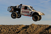 Dec. 19, 2009; Lake Elsinore, CA, USA; LOORRS unlimited four driver Carl Renezeder takes a jump during the Lucas Oil Challenge Cup at the Lake Elsinore Motorsports Complex. Mandatory Credit: Mark J. Rebilas-US PRESSWIRE