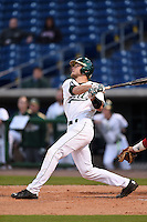 USF Bulls catcher Levi Borders (12) hits a home run during a game against the Louisville Cardinals on February 14, 2015 at Bright House Field in Clearwater, Florida.  Louisville defeated USF 7-3.  (Mike Janes/Four Seam Images)
