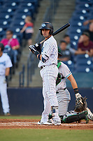 Tampa Tarpons third baseman Angel Aguilar (7) at bat during a game against the Daytona Tortugas on April 18, 2018 at George M. Steinbrenner Field in Tampa, Florida.  Tampa defeated Daytona 12-0.  (Mike Janes/Four Seam Images)