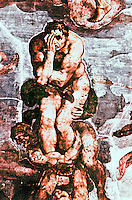 Renaissance Art: Michelangelo--The Last Judgment, detail. Sistine Chapel, Vatican. Reference only.