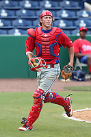 Philadelphia Phillies catcher Logan Moore #5 during an Instructional League game against the  Detroit Tigers at Bright House Networks Field on October 10, 2011 in Clearwater, Florida.  (Mike Janes/Four Seam Images)