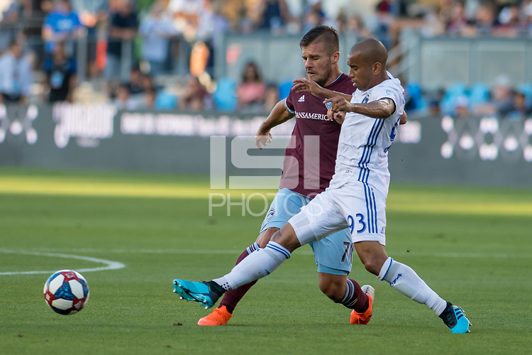 SAN JOSÉ CA - JULY 27: Diego Rubio #7 and Judson #93 during a Major League Soccer (MLS) match between the San Jose Earthquakes and the Colorado Rapids on July 27, 2019 at Avaya Stadium in San José, California.