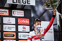 podium with 3th place finisher Tadej Pogacar (SVN/UAE-Emirates)<br /> <br />  106TH Liège-Bastogne-Liège 2020 (1.UWT)<br /> 1 Day Race Liège-Liège 257km