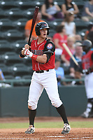 Josh Jung (15) of the Hickory Crawdads at bat during a game against the Kannapolis Intimidators at L.P. Frans Stadium on July 16, 2019 in Hickory, North Carolina. The Crawdads defeated the Intimidators 5-4. (Tracy Proffitt/Four Seam Images)
