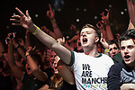 © Joel Goodman - 07973 332324 . No Editorial syndictaion permitted . 09/09/2017. Manchester , UK . Crowd for Courteeners . We Are Manchester reopening charity concert at the Manchester Arena with performances by Manchester artists including  Noel Gallagher , Courteeners , Blossoms and the poet Tony Walsh . The Arena has been closed since 22nd May 2017 , after Salman Abedi's terrorist attack at an Ariana Grande concert killed 22 and injured 250 . Money raised will go towards the victims of the bombing . Photo credit : Joel Goodman