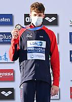 100m Butterfly Men<br /> Podium<br /> MILDRED Edward GBR Greit Britain Bronze Medal<br /> LEN European Junior Swimming Championships 2021<br /> Rome 2179<br /> Stadio Del Nuoto Foro Italico <br /> Photo Andrea Masini / Deepbluemedia / Insidefoto