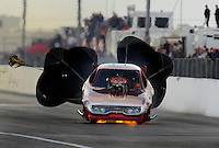 Mar. 6, 2009; Bakersfield, CA, USA; Nostalgia funny car driver James Generalao explodes an engine during qualifying for the 51th annual March Meet at the Auto Club Famoso Raceway. Mandatory Credit: Mark J. Rebilas-
