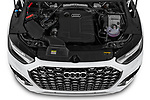 Car Stock 2021 Audi Q5-Sportback S-Line 5 Door SUV Engine  high angle detail view