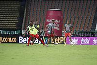 MEDELLIN - COLOMBIA, 21-02-2021: Atlético Nacional y América de Cali en partido por la fecha 8 de la Liga BetPlay DIMAYOR I 2021 jugado en el estadio Atanasio Girardot de la ciudad de Medellín. / Atletico Nacional and America de Cali in match for the date 8 as part of BetPlay DIMAYOR League I 2021 played at Atanasio Girardot stadium in Medellín city. Photo: VizzorImage / Juan A Cardona / Cont