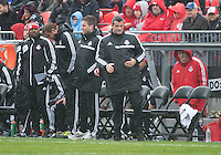 Toronto, Ontario - May 3, 2014: Toronto FC head coach Ryan Nelsen watches the action during a game between the New England Revolution and Toronto FC at BMO Field.<br /> The New England Revolution won 2-1.