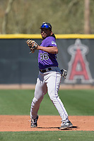 Colorado Rockies second baseman Kennard McDowell (96) during a Minor League Spring Training game against the Los Angeles Angels at Tempe Diablo Stadium Complex on March 18, 2018 in Tempe, Arizona. (Zachary Lucy/Four Seam Images)