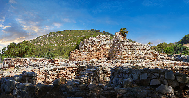 Pictures and image of the exterior ruins of Palmavera prehistoric central Nuraghe tower, archaeological site, middle Bronze age (1500 BC), Alghero, Sardinia.