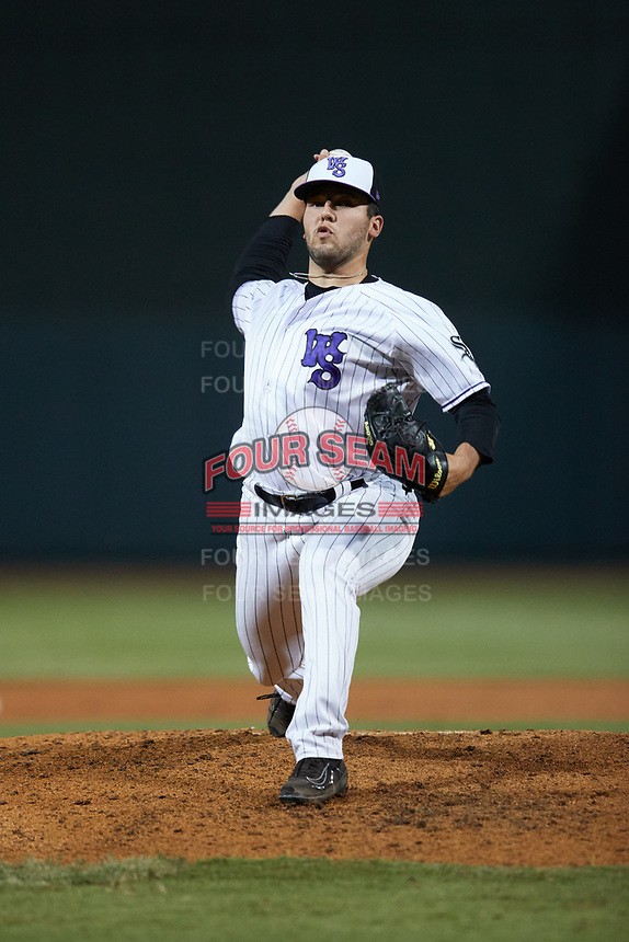 Winston-Salem Dash relief pitcher Taylor Broadway (18) in action against the Bowling Green Hot Rods at Truist Stadium on September 9, 2021 in Winston-Salem, North Carolina. (Brian Westerholt/Four Seam Images)