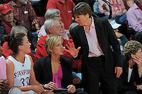 STANFORD, CA - FEBRUARY 14:  Forward Jillian Harmon #33 and head coach Tara VanDerveer (top) of the Stanford Cardinal during Stanford's 58-41 win against the California Golden Bears on February 14, 2009 at Maples Pavilion in Stanford, California.