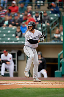 Charlotte Knights Daniel Palka (7) bats during an International League game against the Rochester Red Wings on June 16, 2019 at Frontier Field in Rochester, New York.  Rochester defeated Charlotte 3-2 in the second game of a doubleheader.  (Mike Janes/Four Seam Images)