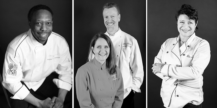 Portraits of the chefs who participated in Guest Chef Night at the FareStart Restaurant in Seattle, WA.