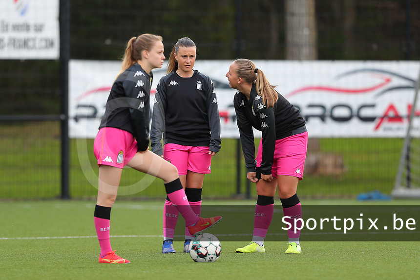 Lou Periquet (5) of Charleroi with Jennifer Marie Jeanne Bouchenna (10) of Charleroi and Megane Vos (20) of Charleroi  pictured during a female soccer game between Sporting Charleroi and White Star Woluwe on the 7 th matchday in play off 2 of the 2020 - 2021 season of Belgian Scooore Womens Super League , friday 14 th of May 2021  in Marcinelle , Belgium . PHOTO SPORTPIX.BE | SPP | Sevil Oktem