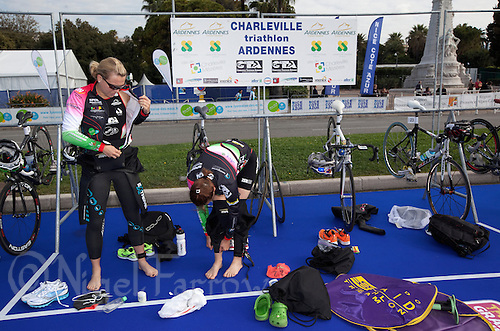 24 APR 2011 - NICE, FRA - Charleville Triathlon Ardennes competitors prepare for the start of the  first round of the 2011 French Grand Prix triathlon series (PHOTO (C) NIGEL FARROW)