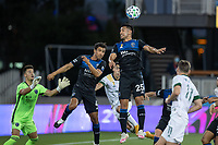 SAN JOSE, CA - SEPTEMBER 16: Andy Rios #25 of the San Jose Earthquakes heads the ball during a game between Portland Timbers and San Jose Earthquakes at Earthquakes Stadium on September 16, 2020 in San Jose, California.