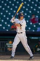 California Golden Bears outfielder Derek Campbell #2 at bat during the NCAA baseball game against the Baylor Bears on March 1st, 2013 at Minute Maid Park in Houston, Texas. Baylor defeated Cal 9-0. (Andrew Woolley/Four Seam Images).