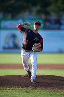 Batavia Muckdogs starting pitcher Alex Mateo (37) delivers a warmup pitch during a game against the Mahoning Valley Scrappers on August 16, 2017 at Dwyer Stadium in Batavia, New York.  Batavia defeated Mahoning Valley 10-6.  (Mike Janes/Four Seam Images)