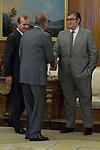 12.09,2012. King Juan Carlos I of Spain attend the delivery of 'XXIII FIES Journalism Award', awarded to Juan Manuel de Prada at the Zarzuela Palace. In the image (L-R) Rafael Guardans (President of FIES), King Juan Carlos of Spain and Juan Manuel de Prada (Alterphotos/Marta Gonzalez)