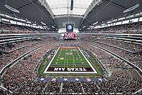 View of the At&t stadium during NCAA Football game, Saturday, September 27, 2014 in Arlington, Tex. Arkansas leads 21-14 at the halftime. (Mo Khursheed/TFV Media via AP Images)