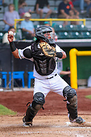 Clinton LumberKings catcher Rainis Silva (7) throws down to second base between innings during a Midwest League game against the Lansing Lugnuts on July 15, 2018 at Ashford University Field in Clinton, Iowa. Clinton defeated Lansing 6-2. (Brad Krause/Four Seam Images)