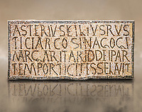 "6th century Inscription of the great hall of the synagogue of Nam-Ham-mam-Lif in the Roman province of Africa Proconsularis, present day Tunisia. The mosaic floor of the vestibule (porticus) was an offering from Asterius son of Rusticus, the Head of the Jewish community who was working in the Naro jewellers trade. The mosaic reads in Latin  ""Asterius, filius Rustici, arcosinagogi, margaritari, (de d(onis) dei partemporticites-selavit"".  The Bardo National Museum, Tunis Tunisia<br /> <br /> The so called synagogue of Naro (Hammam-Lif, Tunisia), discovered in 1883, is a square buil-ding (20 by 20 m), consisting of several rooms and hallways communicating with an inner courtyard. The plan is inspired by traditional domestic architecture of Roman Africa. The room, dedicated to religious ceremonies, was paved with a magnificent mosaic of several figured panels with an iconography highlighting Judaeo-Christian concepts, attesting a proselyte attitude addressing a local Judaic community, who was very active between the late fifth c. and the early sixth century AD."