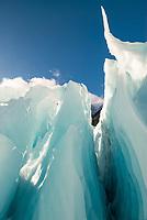Ice features on Franz Josef Glacier,  Westland Tai Poutini National Park, UNESCO World Heritage Area, West Coast, New Zealand, NZ