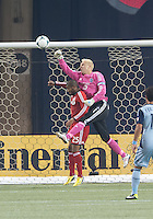 09 March 2013: Sporting KC goalkeeper Jimmy Nielsen #1 and Toronto FC defender Jeremy Hall #25 in action during an MLS game between Sporting Kansas City and Toronto FC at The Rogers Centre in Toronto, Ontario Canada.